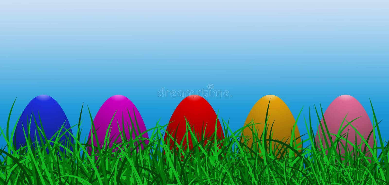 导航例证与草、色的鸡蛋和阳光作用的复活节横幅在蓝天 向量例证