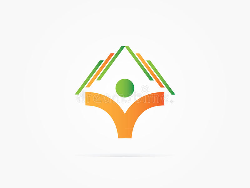 导航例证人书和房子商标概念 库存例证