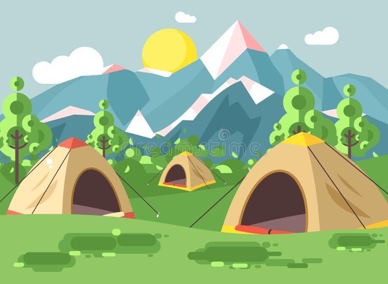 导航例证动画片自然与野营三个的帐篷的国家公园风景远足生存灌木规则  向量例证