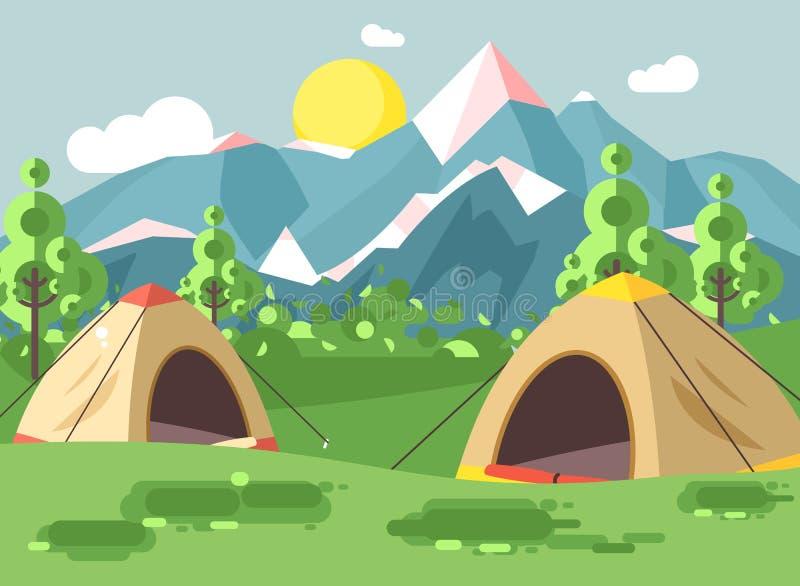 导航例证动画片自然与野营两个的帐篷的国家公园风景远足生存灌木,草坪规则  库存例证