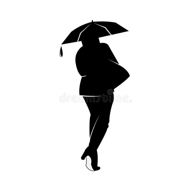 导航例证女孩的一个黑白剪影从后面的在与雨落的小滴的白色背景 皇族释放例证