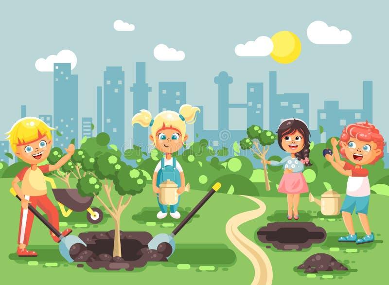 导航例证孩子男孩和女孩种植在庭院幼木的树,小孩漫画人物与 皇族释放例证