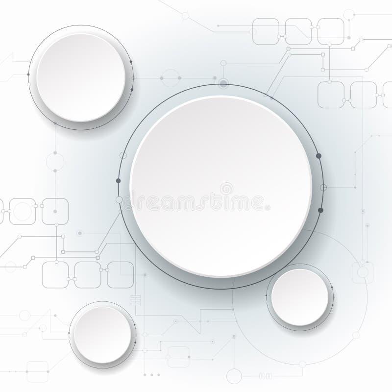 导航例证抽象未来派,在浅灰色的背景,现代高科技数字技术概念的电路板 库存例证
