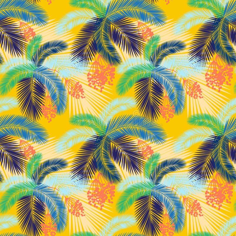 导航例证无缝的颜色棕榈叶和果子样式 向量例证