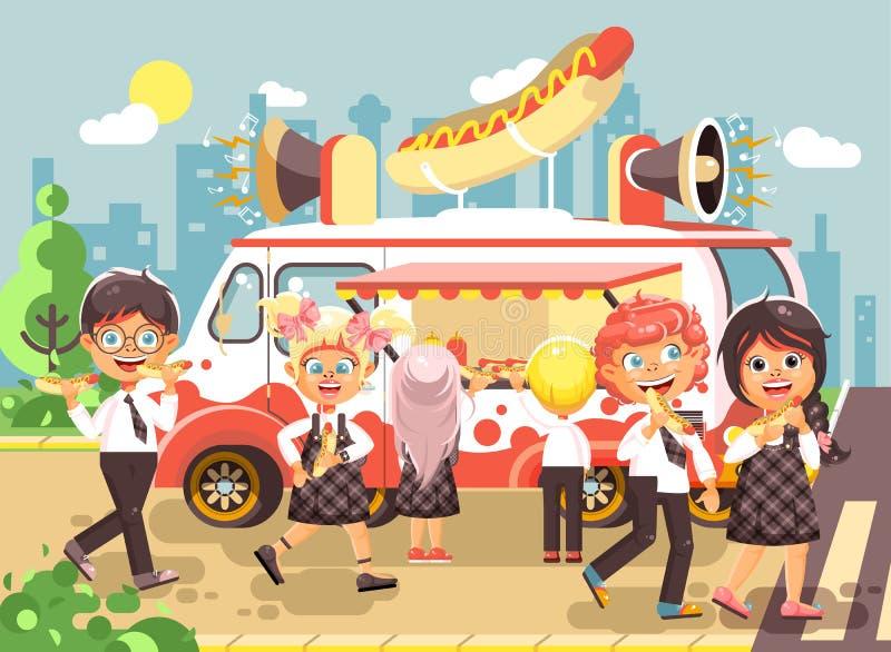 导航例证漫画人物儿童,学生,男小学生和女小学生购买快餐,三明治,热狗图片