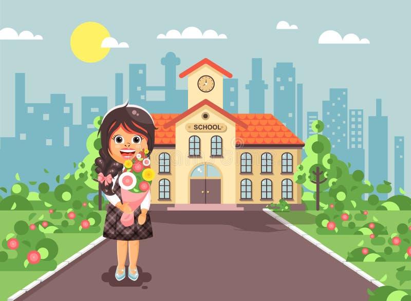 导航例证漫画人物儿童孤独的深色的女小学生,学生,站立与花束花的学生图片
