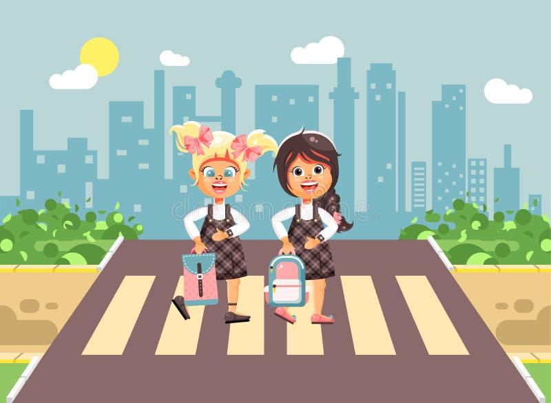 导航例证漫画人物孩子,遵守交通规则,女孩女小学生,学生去的同学 库存例证
