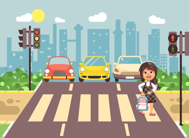 导航例证漫画人物孩子,遵守交通规则,女小学生去的孤独的深色的女孩学童 库存例证