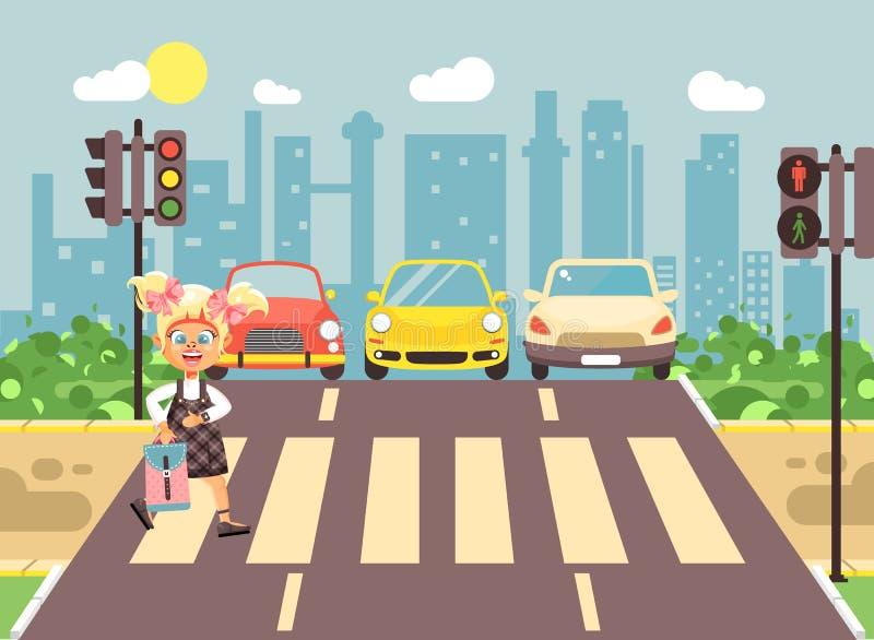 导航例证漫画人物孩子,遵守交通规则,女小学生去的孤独的白肤金发的女孩学童 向量例证