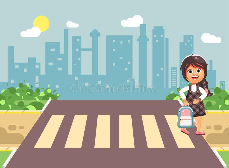 导航例证漫画人物孩子,遵守交通规则,孤独的深色的女孩学童,学生去 向量例证