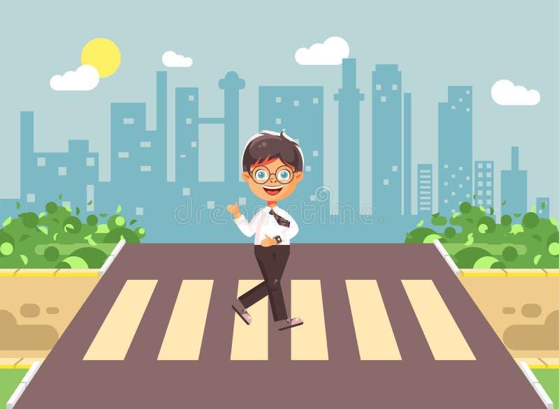 导航例证漫画人物孩子,遵守交通规则,孤独的深色的男孩学童,学生去 库存例证