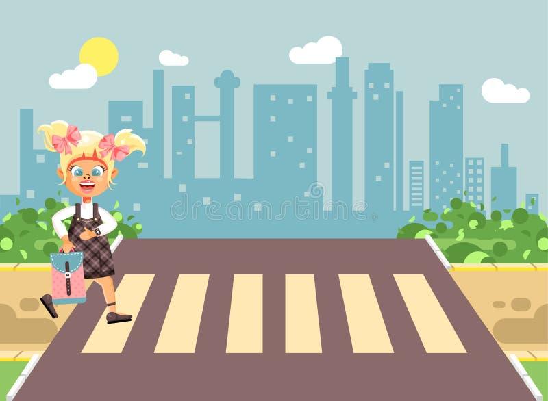 导航例证漫画人物孩子,遵守交通规则,孤独的白肤金发的女孩学童,学生去路 向量例证