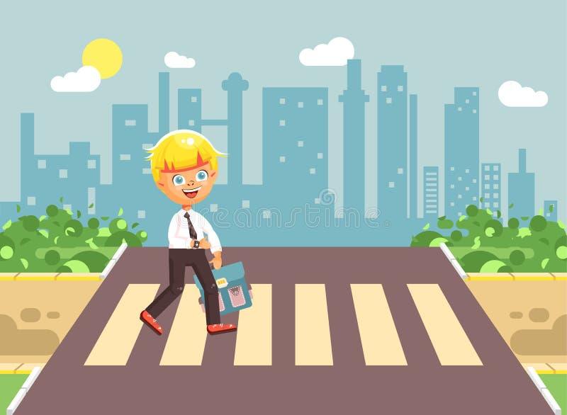 导航例证漫画人物孩子,遵守交通规则,孤独的白肤金发的男孩学童,学生去路 皇族释放例证