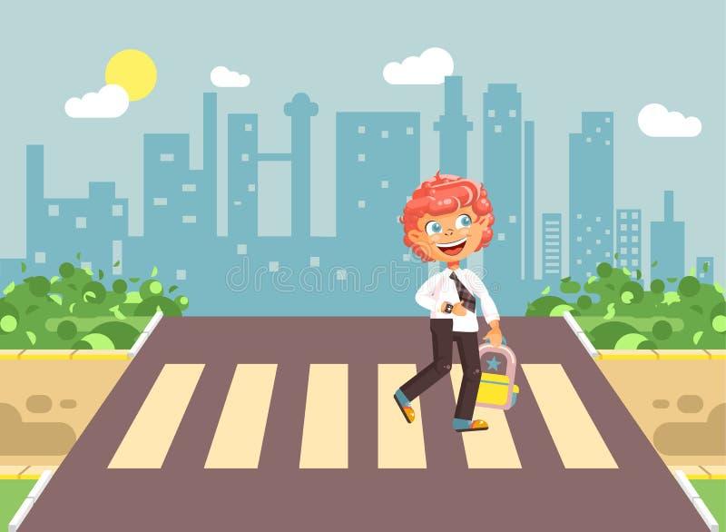 导航例证漫画人物孩子,遵守交通规则,孤独的红头发人男孩学童,学生去路 向量例证