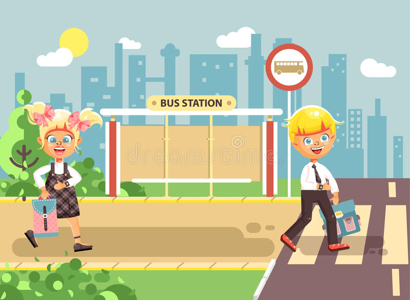 导航例证漫画人物孩子,遵守交通规则,男孩,并且女孩学童同学去 库存例证
