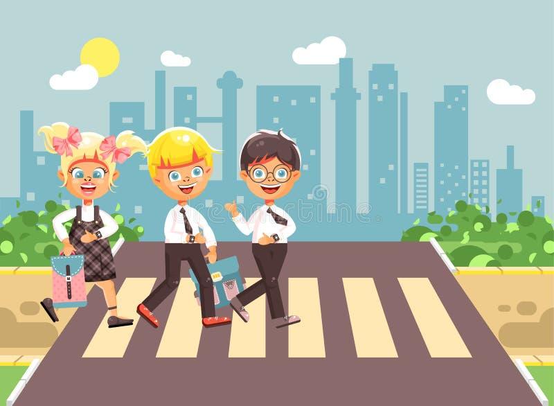 导航例证漫画人物孩子,遵守交通规则,男孩,并且女孩学童同学去 皇族释放例证