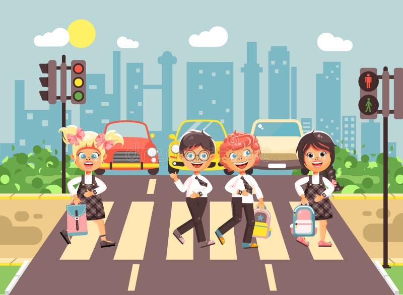 导航例证漫画人物孩子,遵守交通规则,男孩,并且女孩学童同学去 向量例证