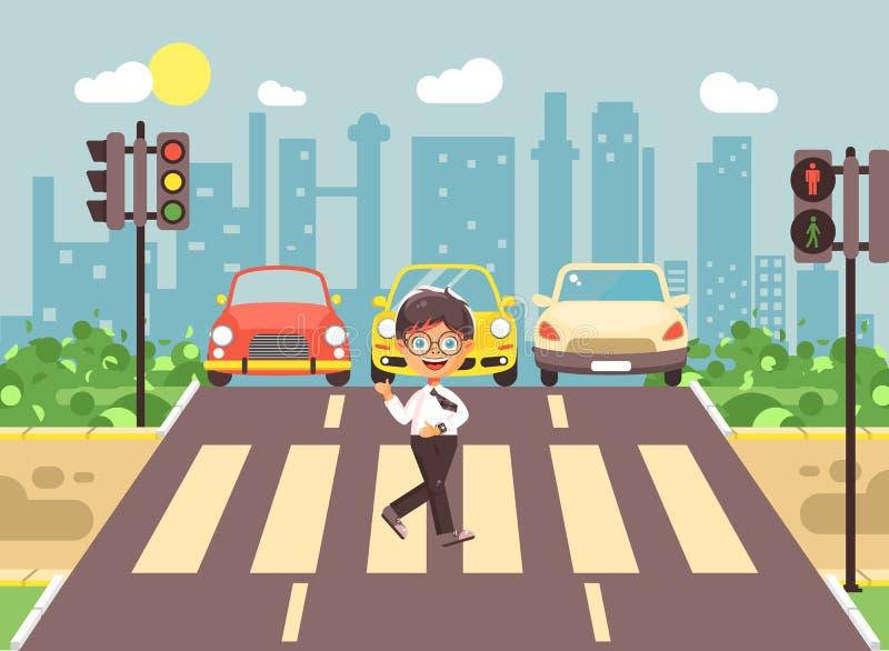 导航例证漫画人物孩子,遵守交通规则,男小学生去的孤独的深色的男孩学童 皇族释放例证