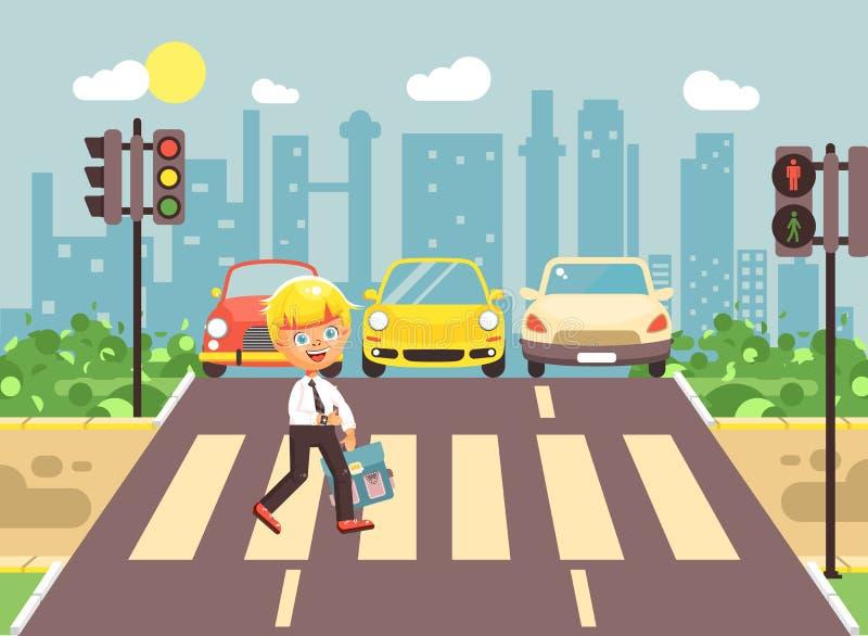 导航例证漫画人物孩子,遵守交通规则,男小学生去的孤独的白肤金发的图片
