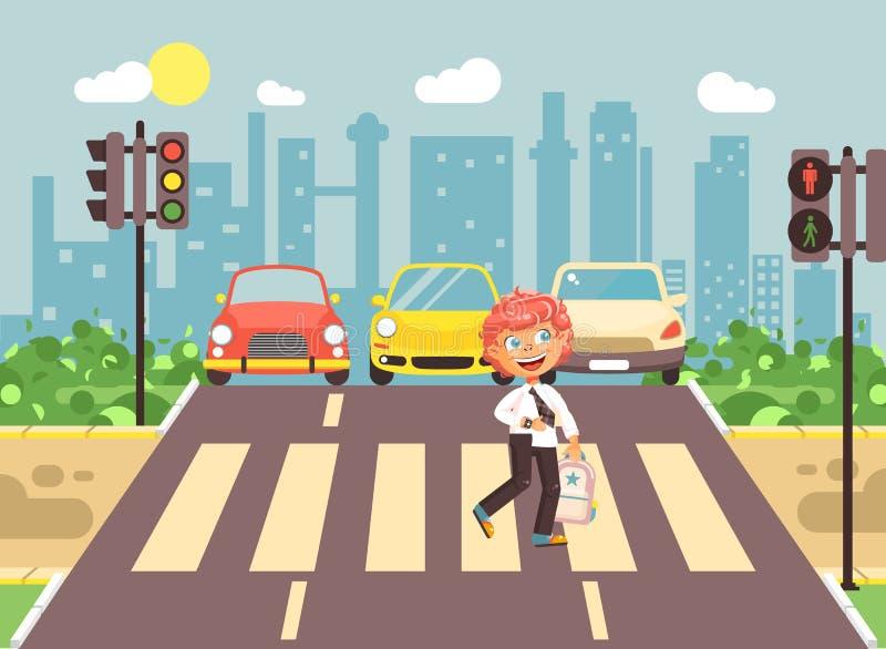 导航例证漫画人物孩子,遵守交通规则,男小学生去的孤独的红头发人男孩学童 向量例证