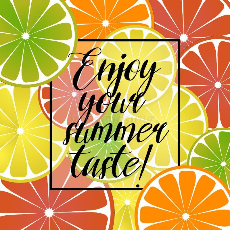 导航例证用柑橘柠檬、葡萄柚和橙色海报与题字在夏天题材 五颜六色 库存例证