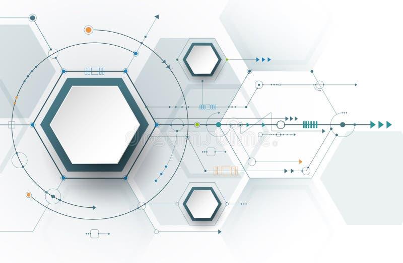 v初中初中电路板和3d纸六角形数字高科技技术大全和工程学,数字式700字周记背景例证图片