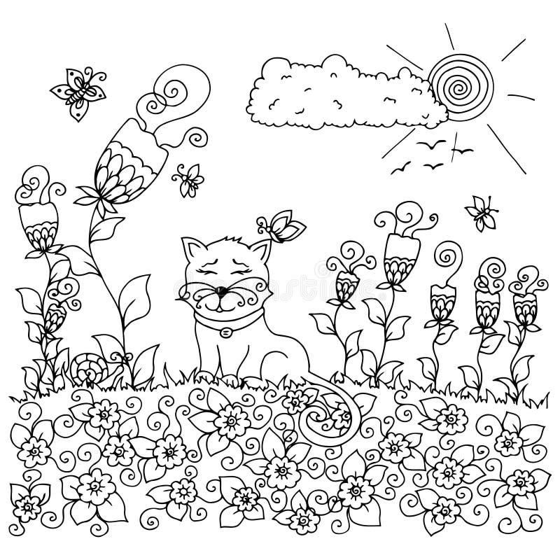 导航例证禅宗tangl,坐在花的猫 乱画图画 成人的彩图反重音 投反对票 库存例证