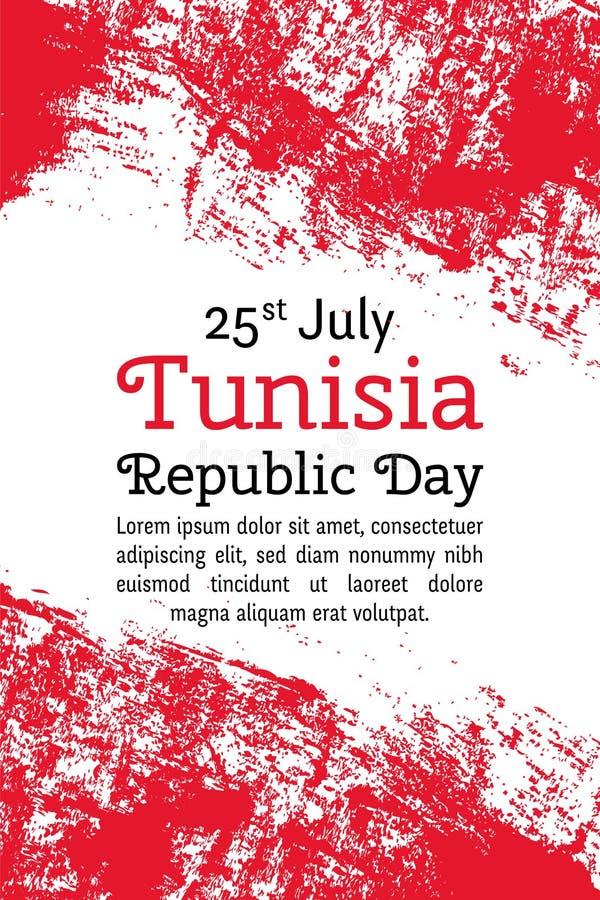 导航例证突尼斯共和国天,在时髦难看的东西样式的突尼斯旗子 皇族释放例证