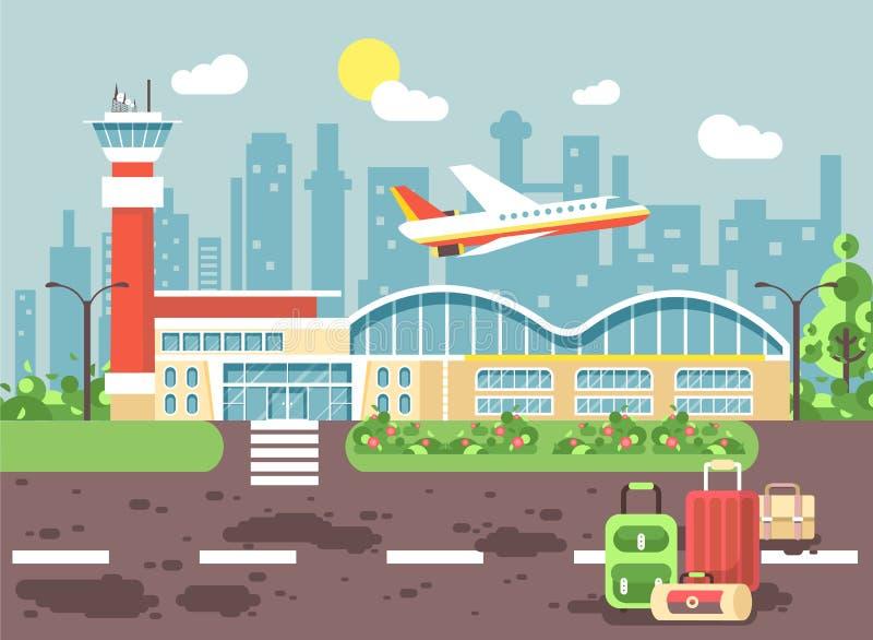 旅行手提箱在有飞机的机场.图片
