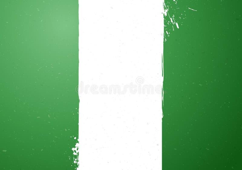 导航例证葡萄酒难看的东西尼日利亚的纹理旗子 皇族释放例证