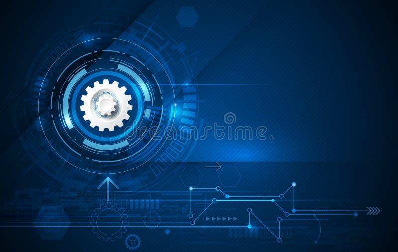 导航例证链轮、六角形和电路板、高科技数字技术和工程学,数字式电信技术 皇族释放例证