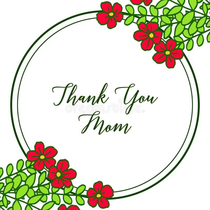 导航例证非常与卡片的美好的红色花框架感谢您妈妈 向量例证