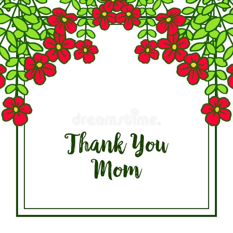 导航例证非常与卡片的美好的红色花框架感谢您妈妈 皇族释放例证