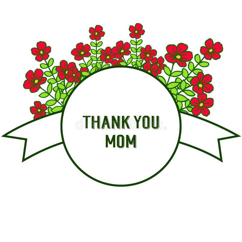 导航例证非常与卡片的美好的红色花框架感谢您妈妈 库存例证