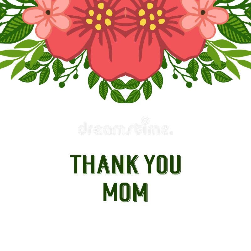 导航例证非常装饰ofcard的美好的绿色叶茂盛花框架感谢您妈妈 向量例证