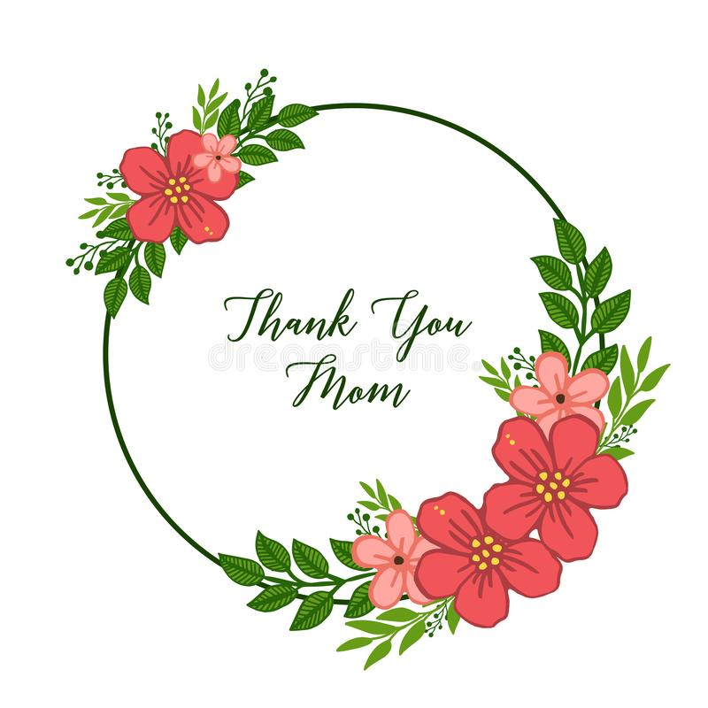 导航例证非常装饰ofcard的美好的绿色叶茂盛花框架感谢您妈妈 皇族释放例证