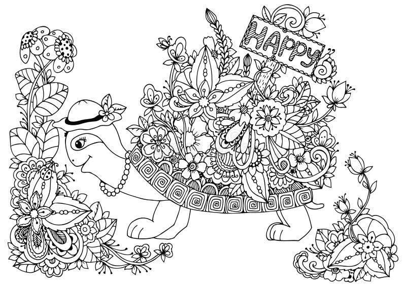 导航例证,与尖的乌龟对愉快的花卉框架 乱画图画 成人的彩图反重音 库存例证