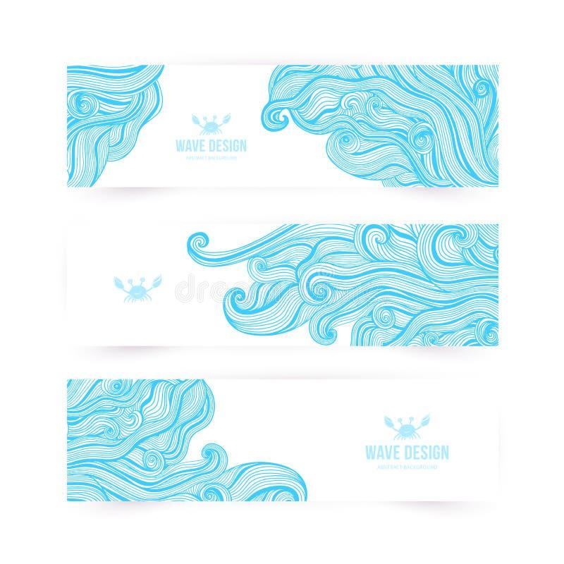 导航例证,与海浪的波浪横幅能使用作为贺卡 皇族释放例证