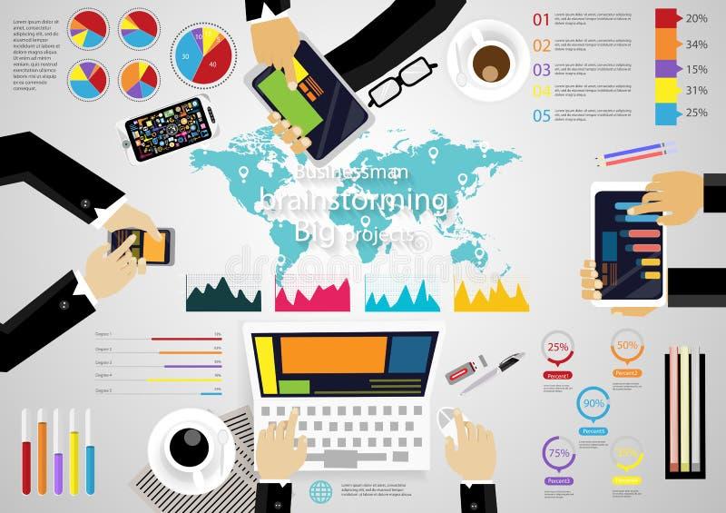 导航例证Infographic工作场所激发灵感企业现代想法和概念与图表,电话,笔记本,片剂,纸, co 向量例证