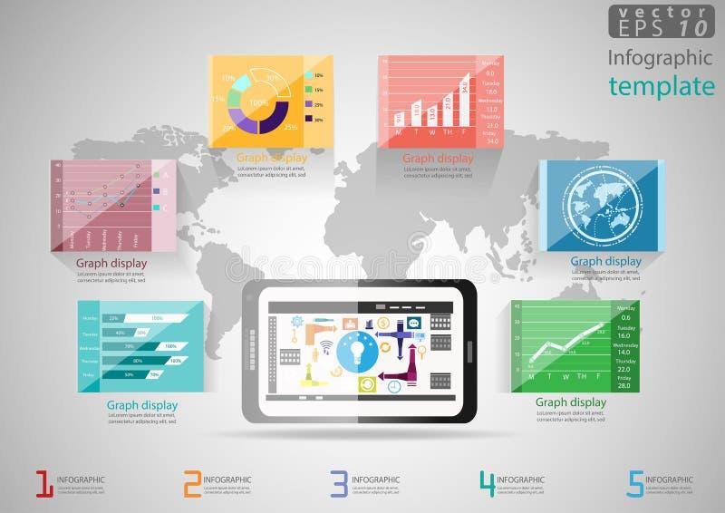 导航例证Infographic模板企业现代想法和概念 使用片剂,图,图表,象 向量例证