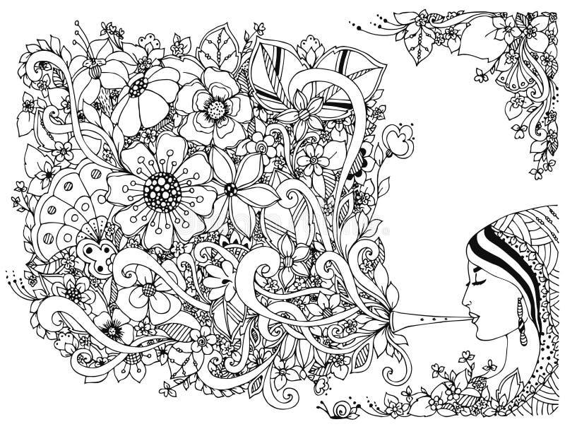 导航例证zentangl妇女,有花的女孩长笛 上色反重音 黑色白色 成人彩图 皇族释放例证