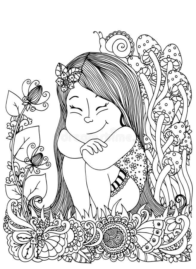 导航例证zentangl,女孩坐在花的,蘑菇 乱画花卉图画 冥想的锻炼 向量例证