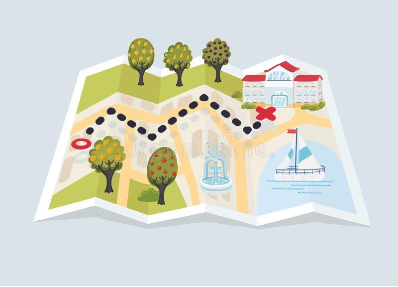 导航修造纸地图被装配的树和城市元素的动画片滑稽的例证: 向量例证