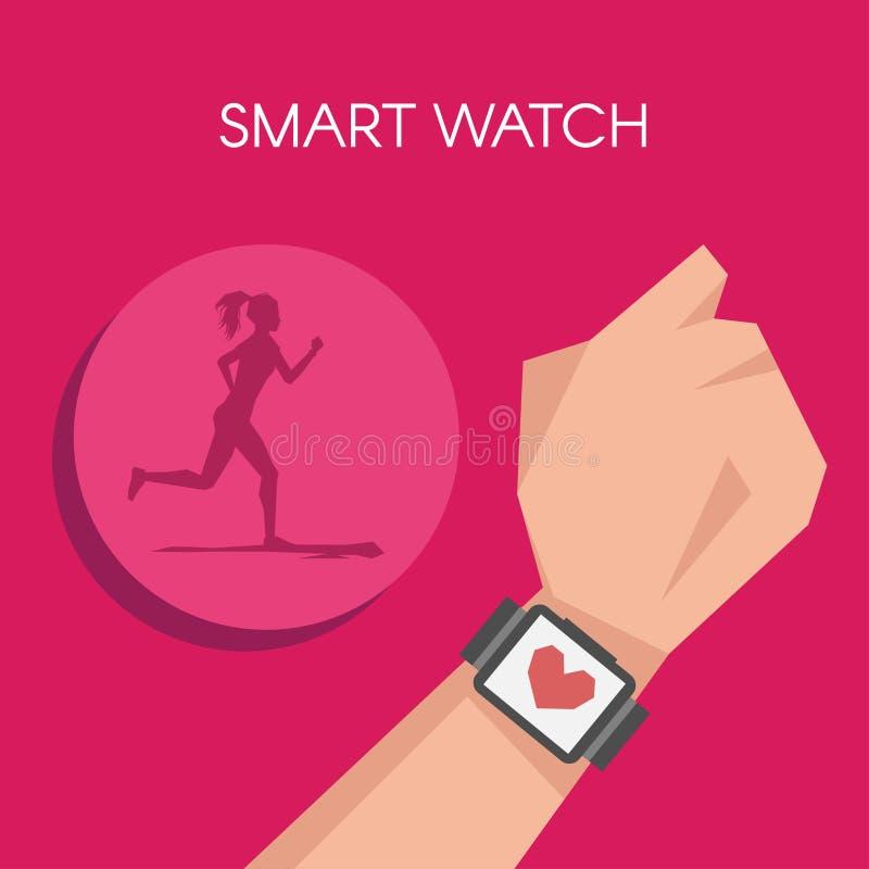 导航健身跟踪仪或巧妙的手表的例证 向量例证