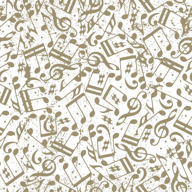 导航光与音符的被加点的音乐无缝的样式  库存例证