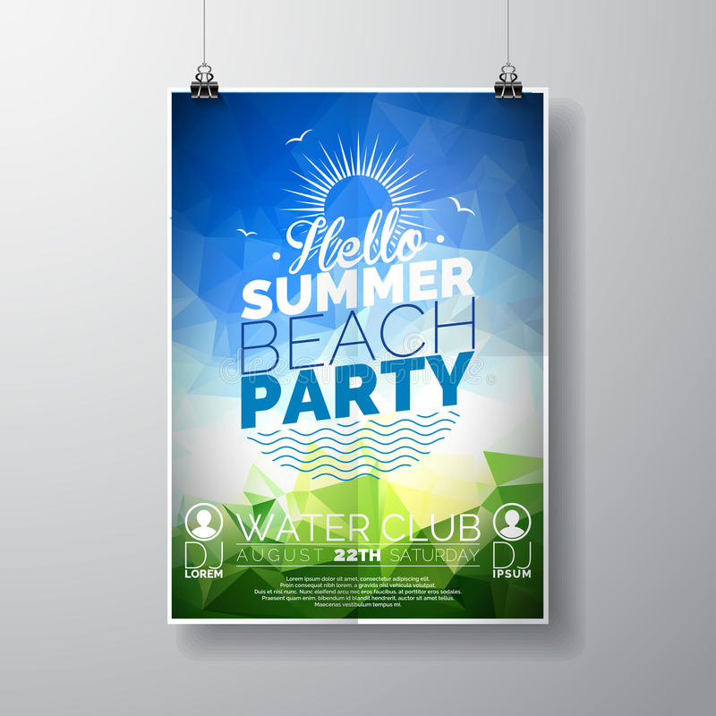 导航党飞行物在夏天海滩题材的海报模板有抽象发光的背景 向量例证