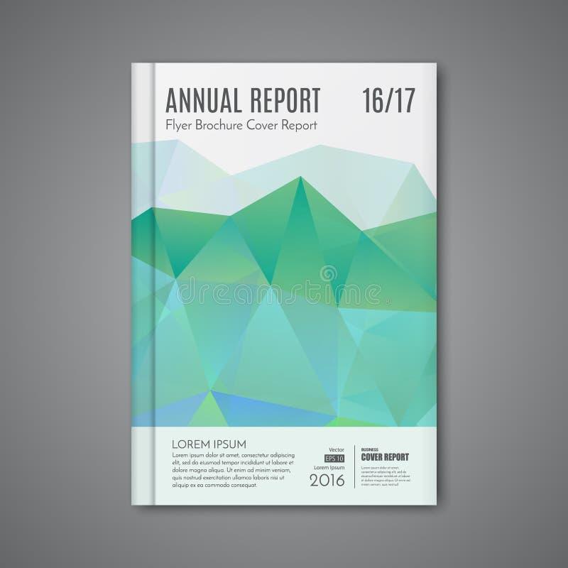 导航公司业务年终报告书套小册子飞行物海报的抽象低多角形形状背景 向量例证