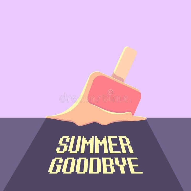 导航再见夏天传染媒介与融解冰淇凌的概念例证在紫外天空背景 结束夏天 库存例证