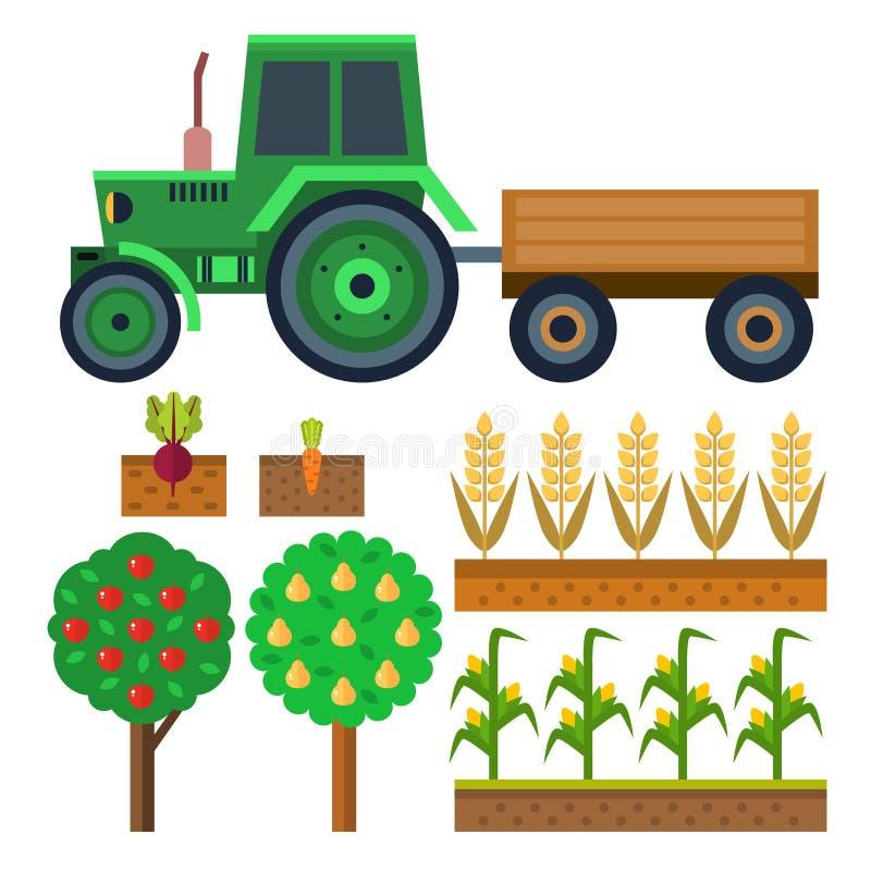 导航农业和园艺健康自然果子和手工具的农厂收获机具 库存例证