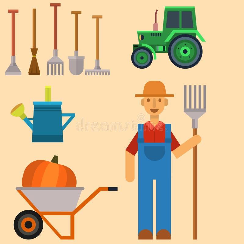 农夫的工具_导航农业和园艺农夫人的农厂收获机具有手工具的